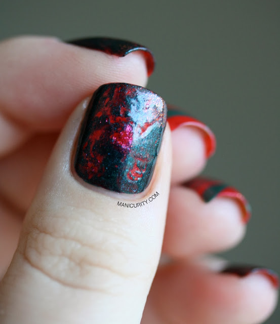 Manicurity | Bloodstone Saran Wrap + Watermarble Nail Art