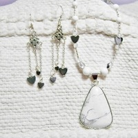 White Pendant Necklace and matching Earrings