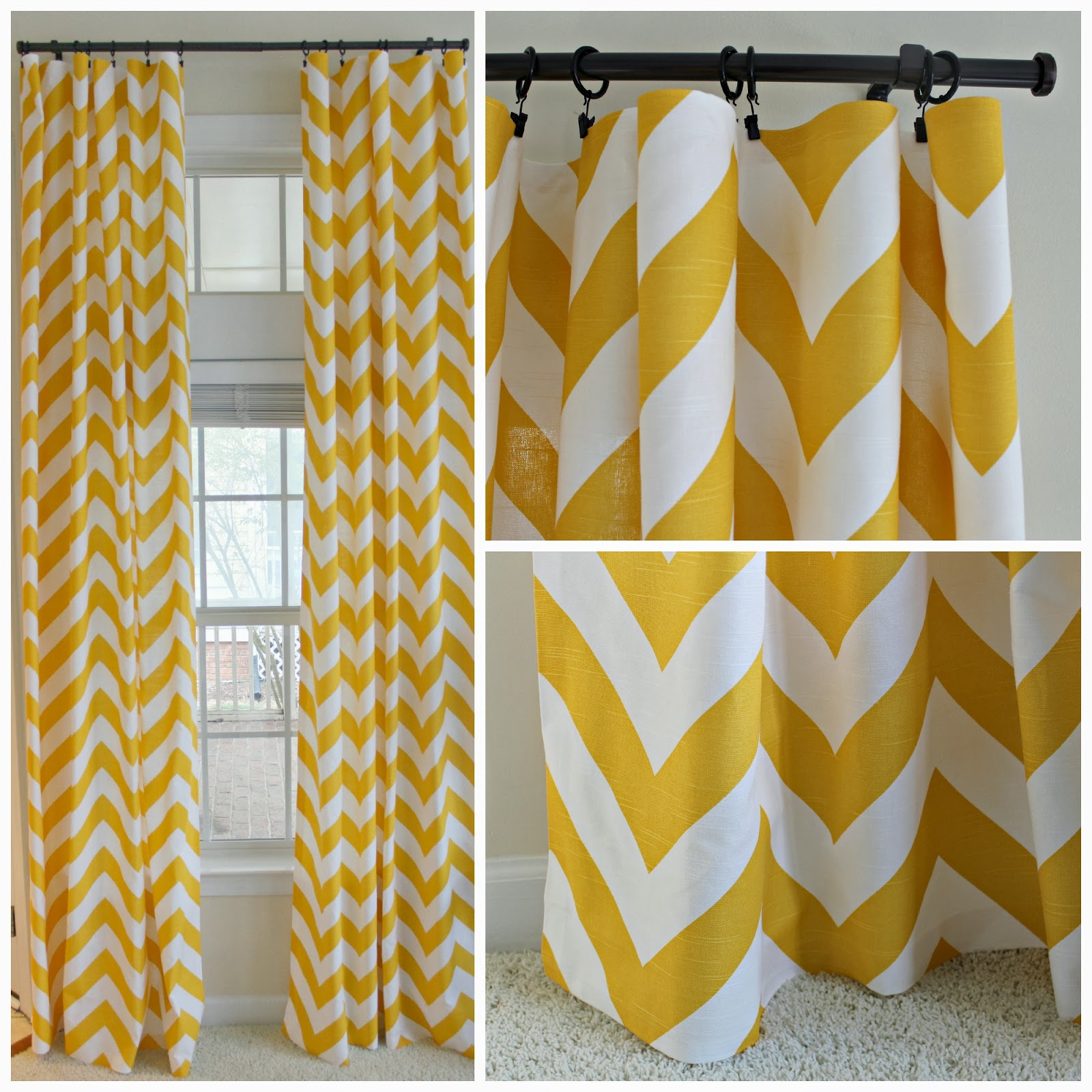 Kitchen Living Room Zippy Corn Yellow Chevron No Sew Curtains