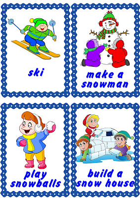 winter activities flashcard