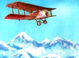 Dibujo del avión de Jorge Chávez en pleno vuelo