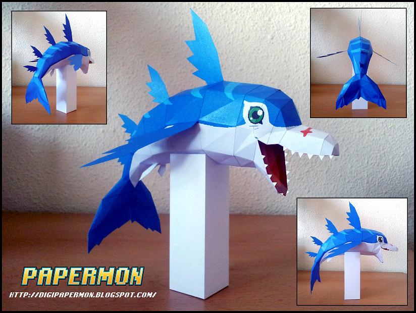 digimon dolphmon papercraft papercraft paradise papercrafts