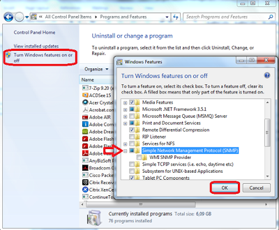 Install snmp in windows 7