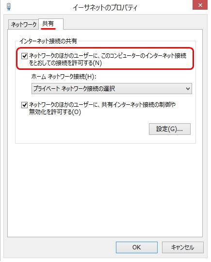 [共有]タブをクリックし「ネットワークの他のユーザーにこのコンピュータのインターネット接続を通して接続を許可する」にチェックを入れる