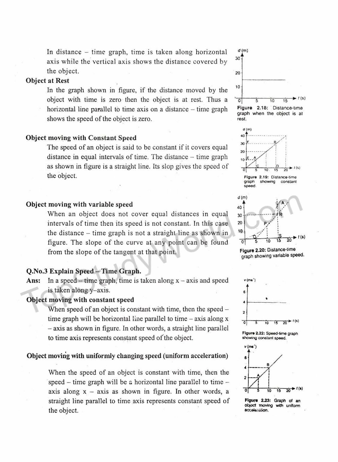 Kips Textbook Excercise Of Kinematics For 9th Class Physics