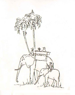 Sketch of the Elephantback Safaris in the Okavango Delta by Sophie Neville