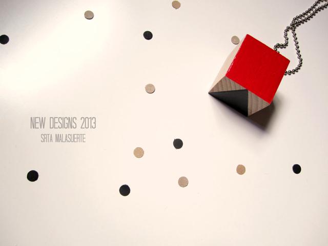 cube necklace geometry Srta Malasuerte handmade
