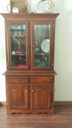 piece two curio ethan bookcases cabinet allen craigslist corner style cherry used china bookcase