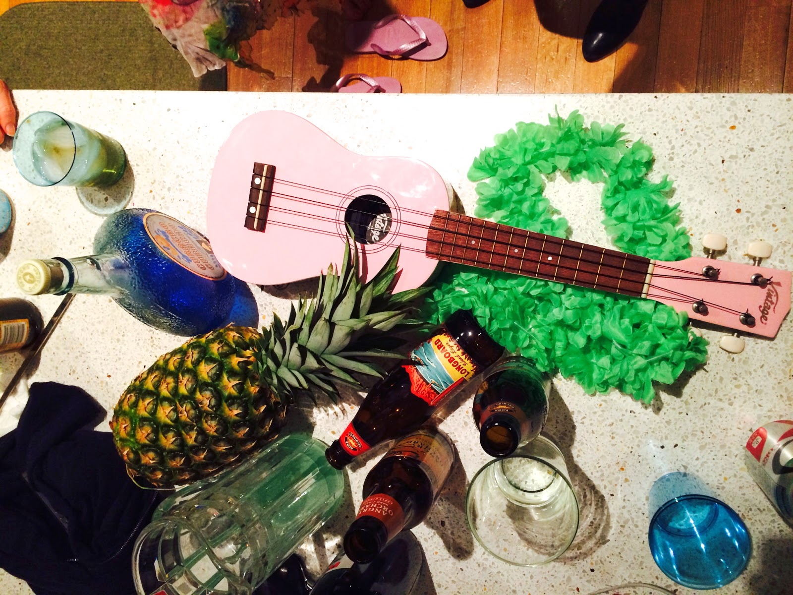 Purim Luau, pink ukelele, party, luau, beer, party over