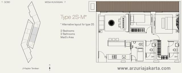 Tipe 2S-M Apartemen Arzuria Jakarta Selatan