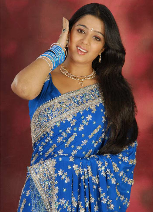 Actress Charmi in Blue Saree Photos