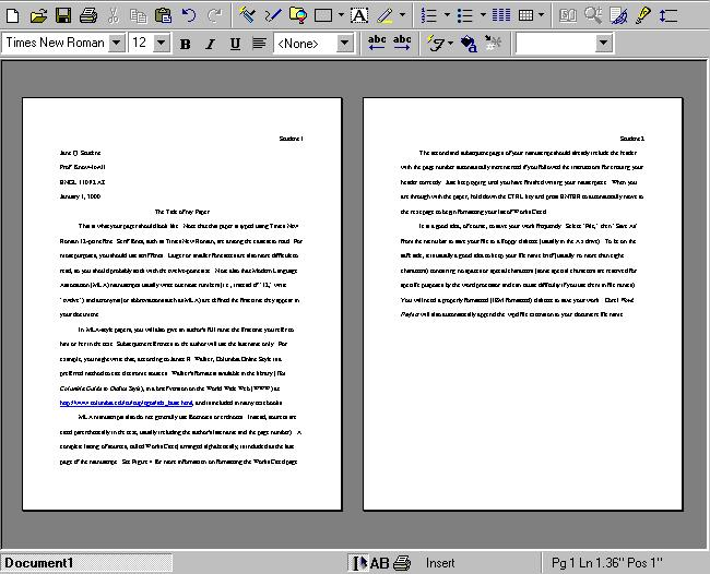 Whats a MLA format for writting essays?