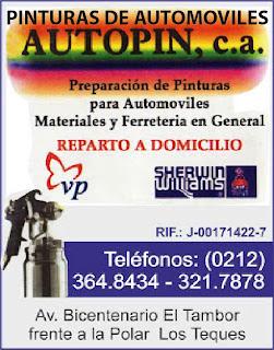 PINTURAS DE AUTOMOVILES AUTOPIN, C.A. en Paginas Amarillas tu guia Comercial