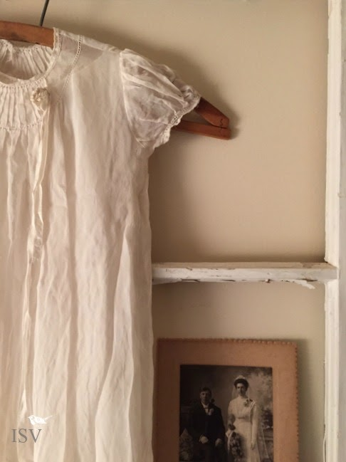 vintage christening gown, wedding photo, old window frame