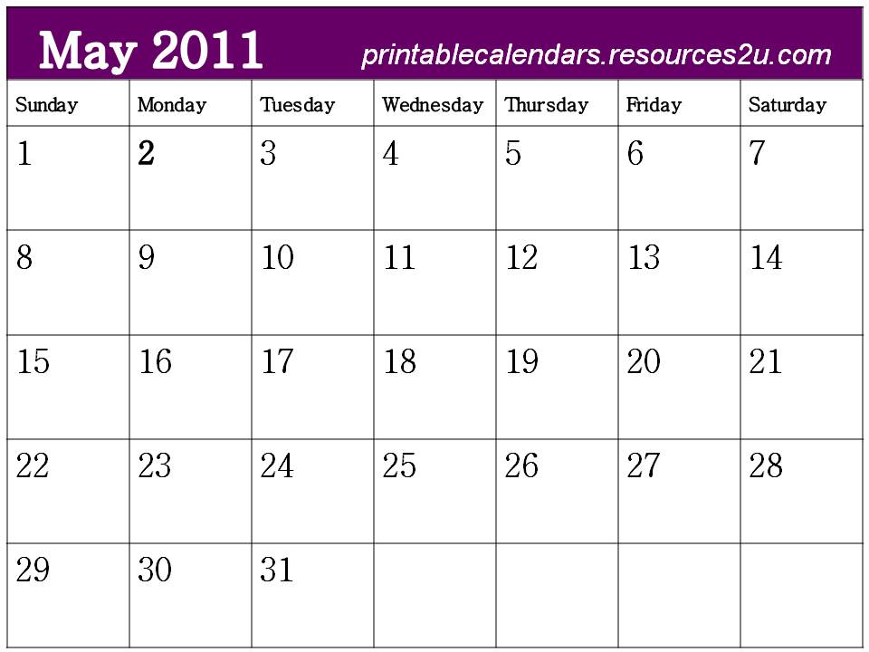 calendar template may 2011. May 2011 Calendar template