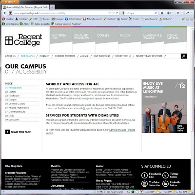 Screen shot of http://www.regent-college.edu/our-campus/accessibility.