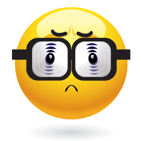 Emoticon with old eyeglasses