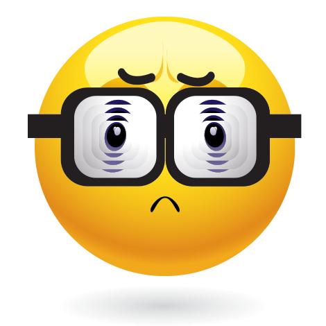 Emoticon with old eyeglasses
