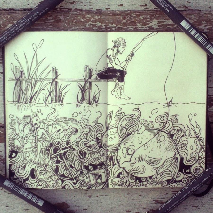 09-#29-What-Lurks-Below-365-Days-of-Doodles-Gabriel-Picolo-www-designstack-co