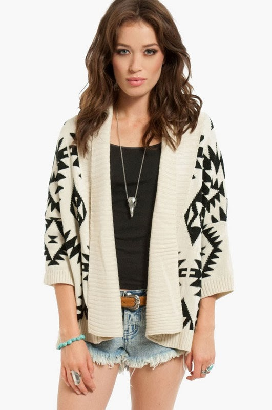 Aztec style cardigan, denim shorts, black shirt and necklace