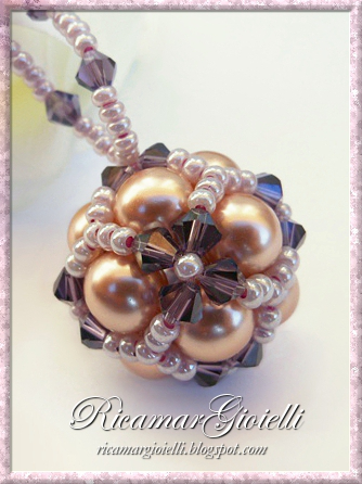Beaded Bead rosa antico e viola