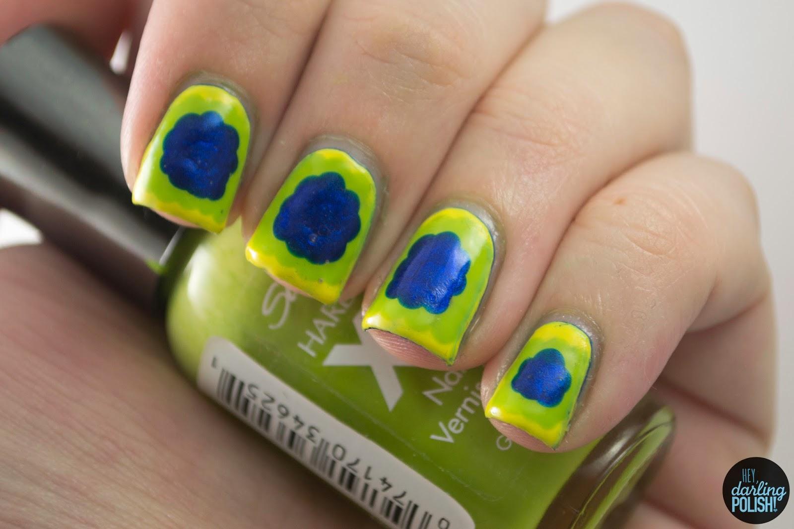 nails, nail art, nail polish, polish, ruffles, yellow, green, blue, hey darling polish, golden oldie thursdays