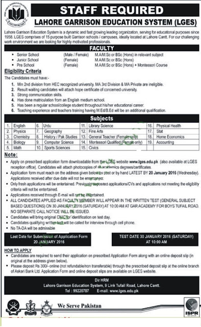 Teachers Jobs in Lahore Garrison Education System