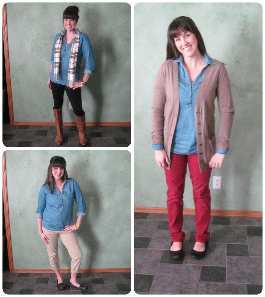 7 Ways to Wear a Chambray Shirt #RealMomStyle - momma in flip flops