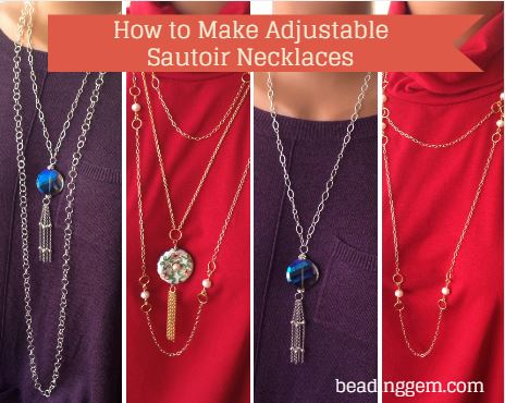 how to make an adjustable sautoir inspired necklace tutorial
