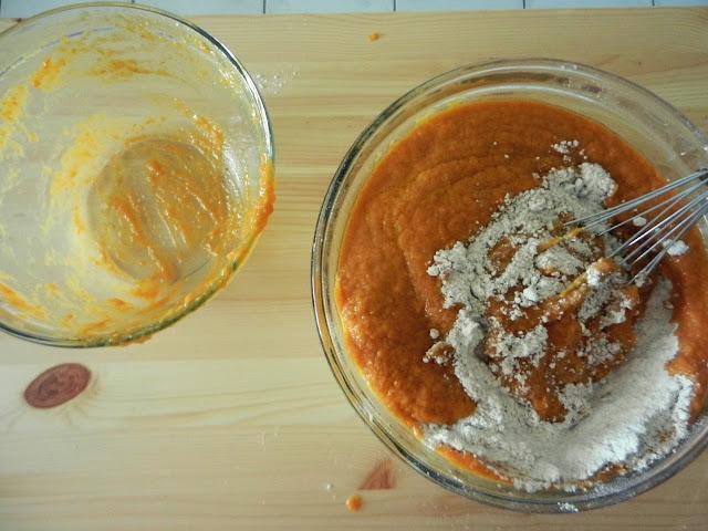 making pumpkin cake