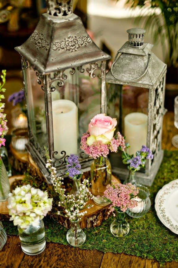 Beautiful bridal lantern wedding centerpieces for Vintage wedding decorations