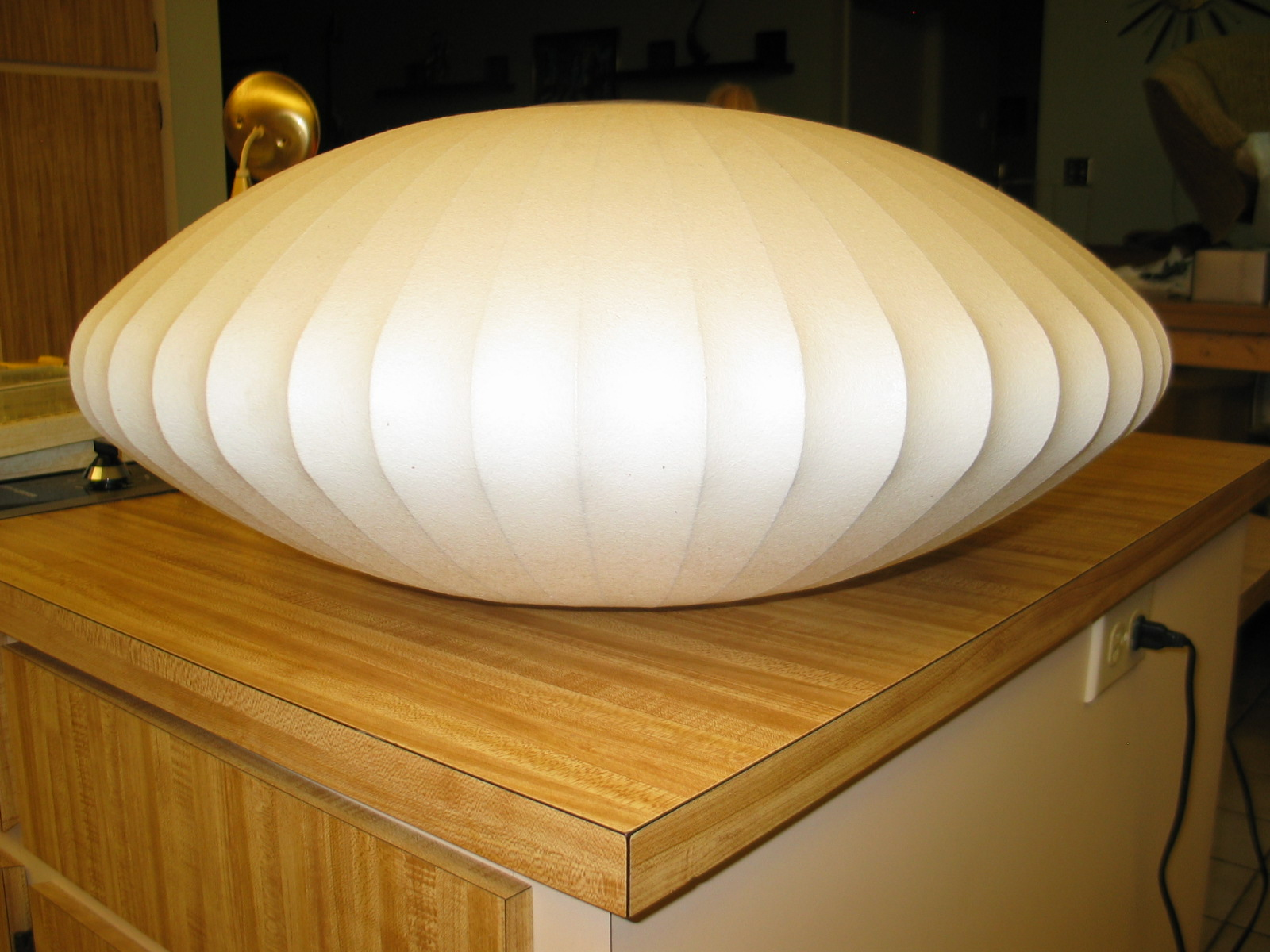 Daves mid century stuff george nelson bubble lamp saucer pendant shade man this thing is really clean no tears in the fabric its solid aloadofball Images