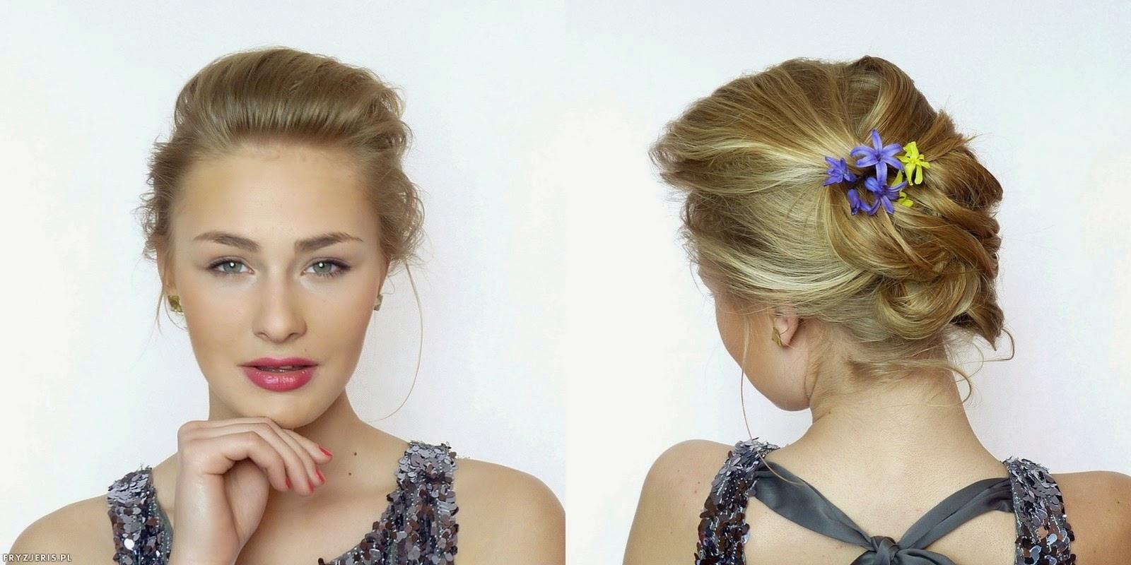 fryzury ślubne - upięcie z kwiatami 1