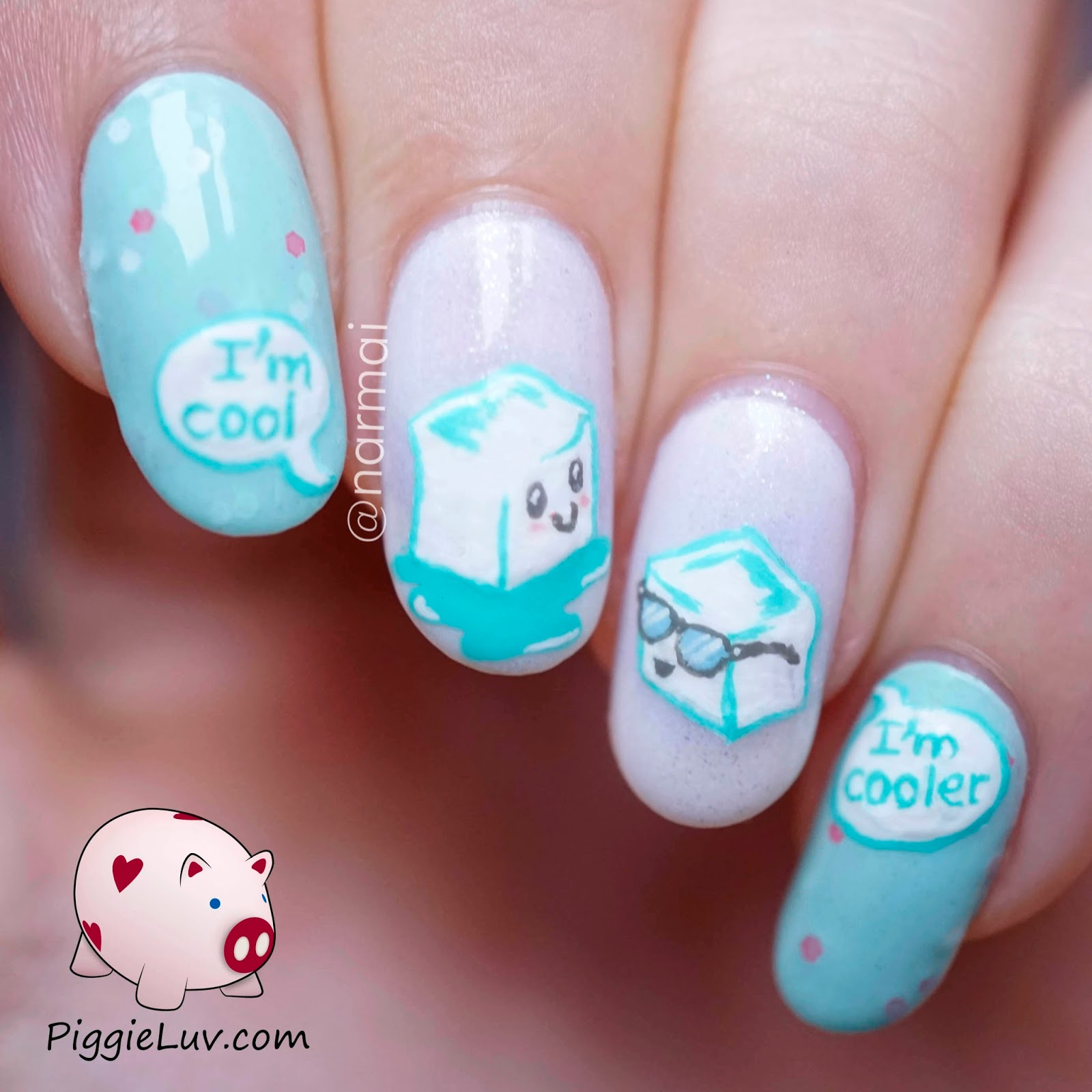Piggieluv ice ice baby cool ice cubes nail art than being cool ice cold just some ice cubes chilling here the one with the sunglasses has upped the coolness factor see the perfect cute nail art prinsesfo Image collections