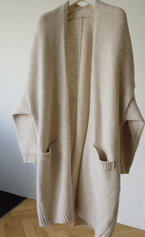 Long Lambswool Knit Cardigan