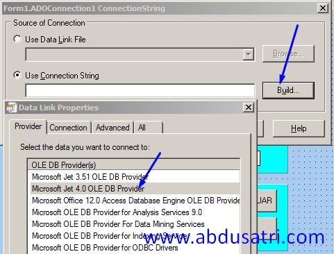 langkah koneksi database ms acces dengan delphi