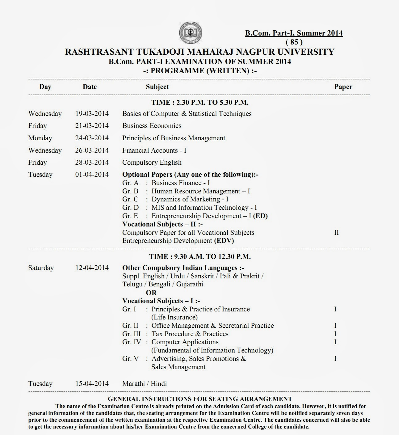 B Com Part 1 Summer 2014 Timetable RTM Nagpur University