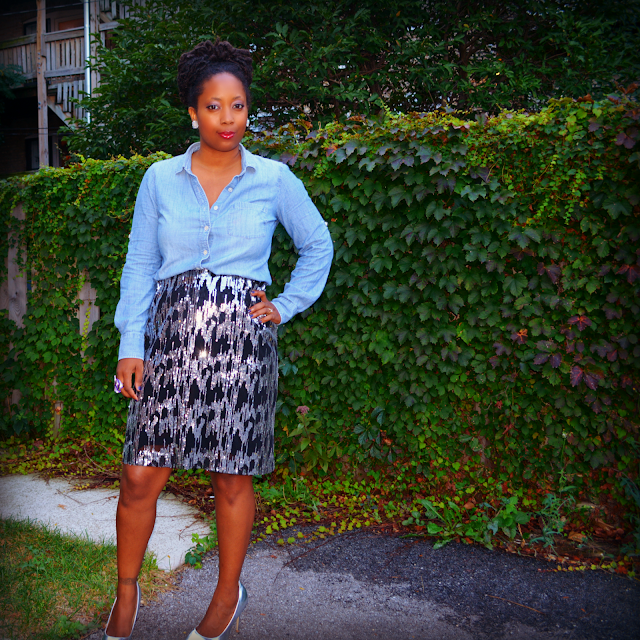 sequin pencil skirt worn with j crew denim shirt