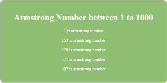 PHP program for find Armstrong Numbers