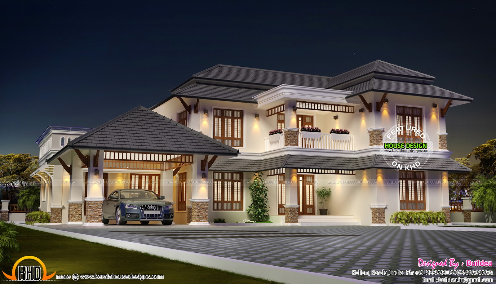 Aesthetic looking house plan kerala home design and for Modern house plans 5000 square feet
