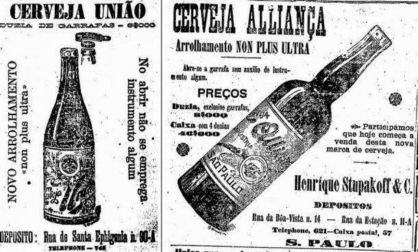 Propagandas de cervejas fechadas com rolhas em 1901.