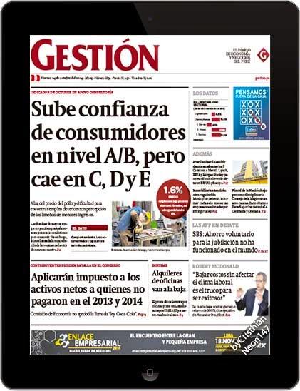 Diario Gestión Perú (24 Octubre 2014) ESPAÑOL - Sube confianza de consumidores en nivel A/B, pero cae en C, D y E
