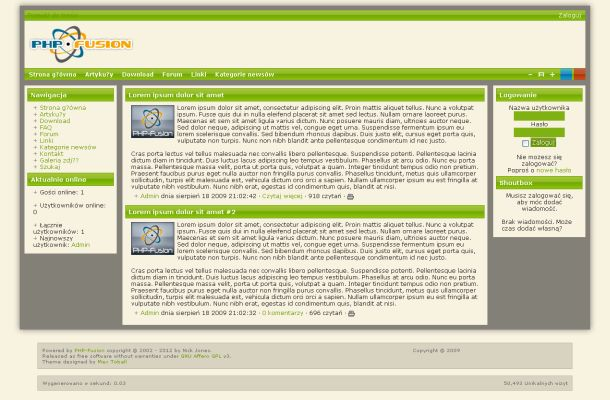 Green Red Blue Php-fusion Theme Template