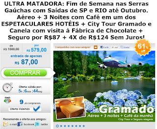 Propaganda de promoção de viagem para Gramado