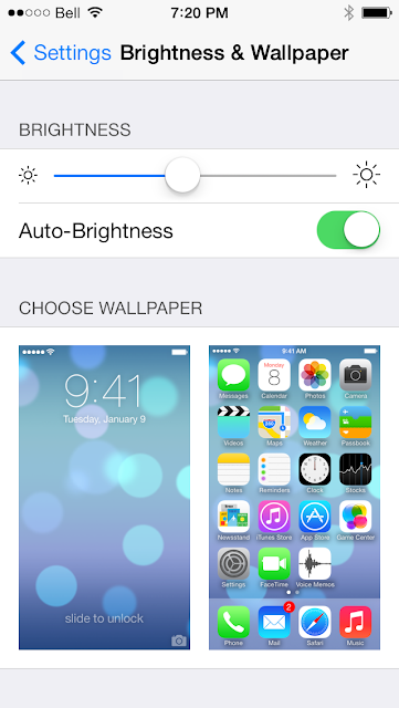 Wallpaper preview in Settings now shows iOS 7 lock screen instead of iOS 6, tweaked UI