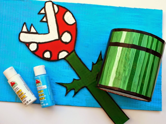 Paint your piranha plant and oatmeal box container