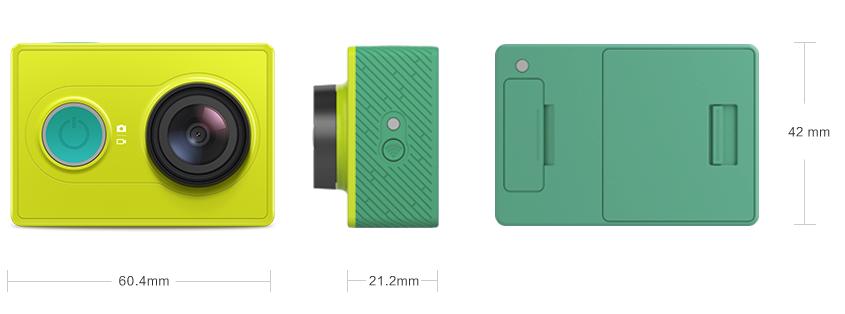 Las medidas de la cámara de acción Xiaomi YI son increíbles. 60,4mm de ancho, 21,2mm de pronfundidad y 42mm de alto.