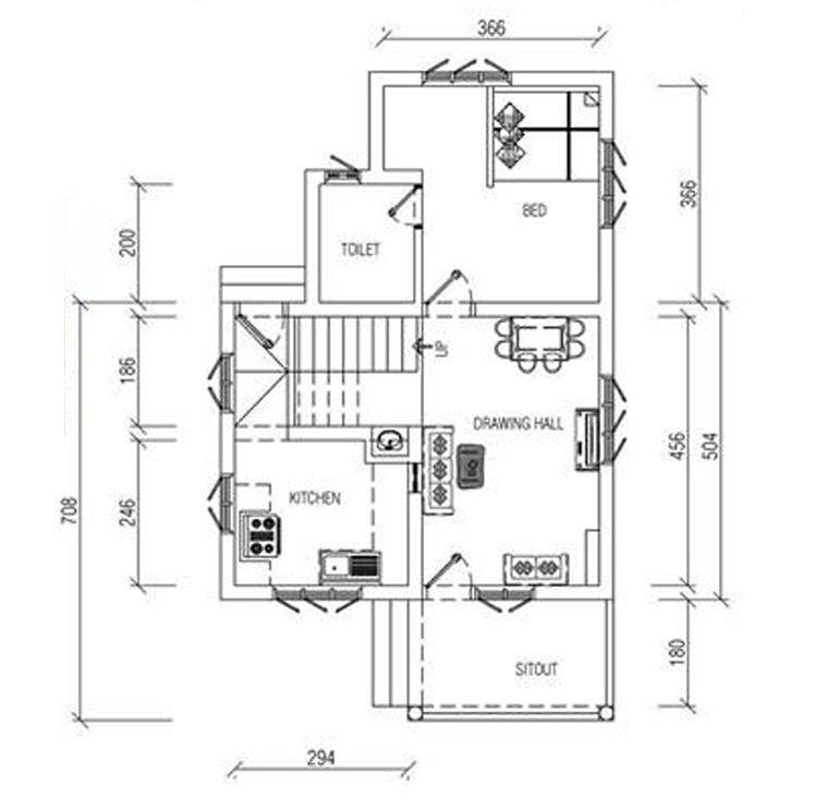 950 sq ft double floor home design with free home plan for 950 sq ft house plans
