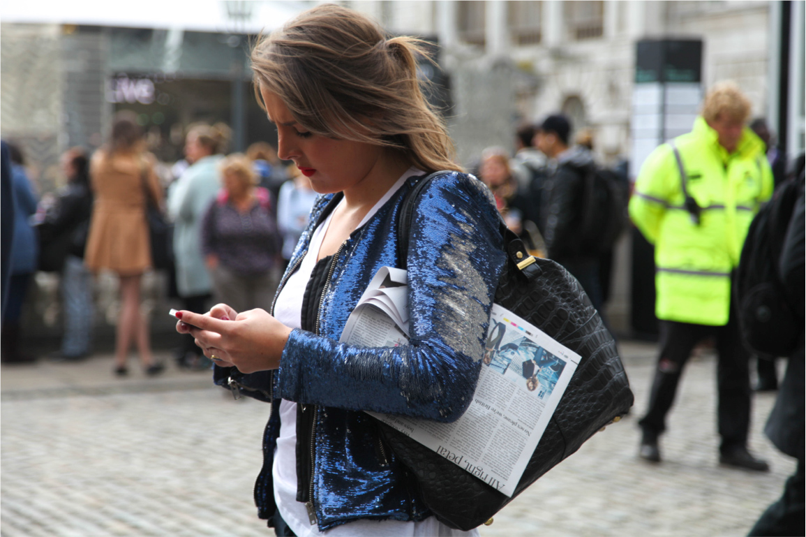 London Fashion Week street style sequin jacket in blue and silver