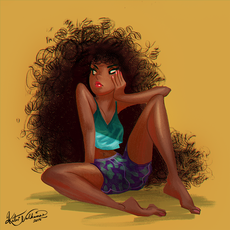 #illustration #painting #drawing #figure #sketch #female #hair #afro #summer